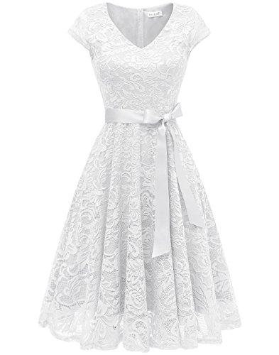 Berylove Damen V-Ausschnitt Kurz Brautjungfer Kleid Cocktail Party Floral Kleid BLP7006WhiteL (Weißes Kleid Frauen Party)
