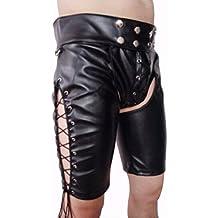 iiniim S-XXL Tractivo Hombre Pantalones Corto Lencería De Cuero De Artificial Con Cordones Abiertos Para Los Hombres