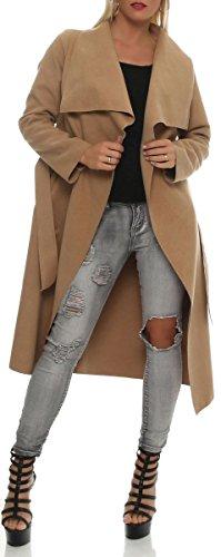 malito Langer Mantel mit Wasserfall-Schnitt Winterjacke Trenchcoat Fleece Dufflecoat Knit Cardigan Sweatjacke Jacke Poncho Überwurf Parka 3040 Damen One Size (camel)