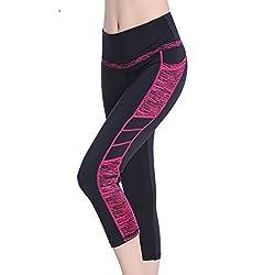 Seyo Womens Capri Workout Pants Yoga Pants Active Running Leggings (Blackrose, Large)