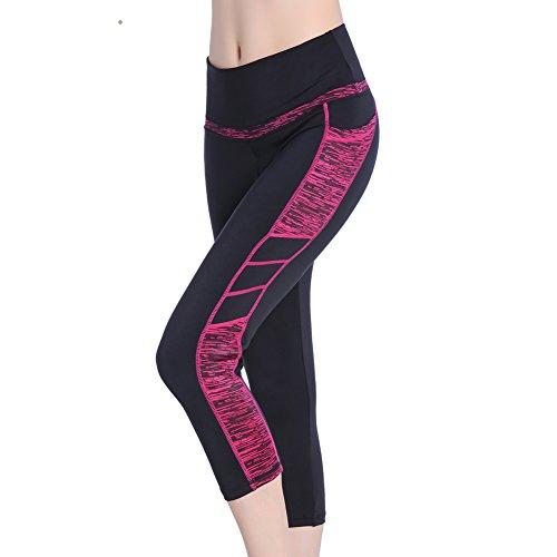 Picotee Sport Leggings Damen Yogahose Leggins Hoher Bund Sporthose Blickdicht Leggings Tasche Fitnesshose (3/4 Sporthose-Schwarze/Rose, Medium)