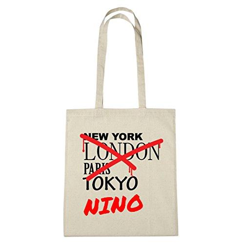 JOllify Nino di cotone felpato b5825 schwarz: New York, London, Paris, Tokyo natur: Graffiti Streetart New York