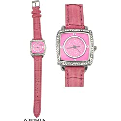 Diamante Encrusted Square Shaped Face Watch with Pink Leather Strap