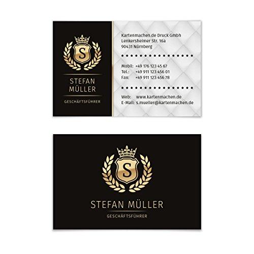 100 x Visitenkarten individuell Business Karten 300g/qm 85 x 55 mm - VIP Schwarz Gold