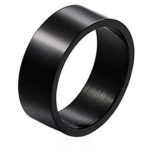 Beydodo 1 pezzo personalizzare anelli acciaio inox anello gotico uomo 8mm anello nero per coppia taglia 20 anello nuziale