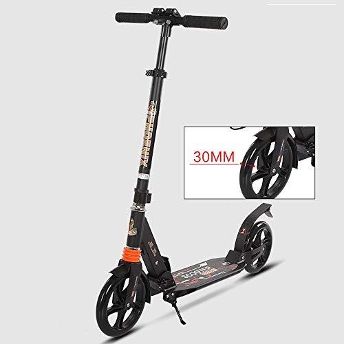 Lihgfw Pendler Tretroller for Erwachsene, Aluminiumlegierung, Teens faltbar, Leichte Höhenverstellbarkeit, 150kg Max Last, (Color : Black)