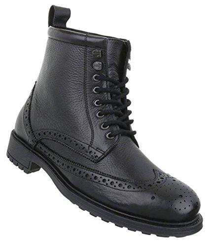 Herren Schuhe Boots Used Optik Leder Schnürer Schwarz