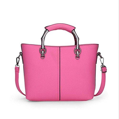 LDMB Damen-handtaschen PU-lederner Geschäftsfrauen-Schulter-Kurier-Beutel-feste Farben-große Kapazitäts-Handtaschen-justierbare Crossbody Beutel-Einkaufstasche Abnehmbare Shell-Beutel rose red