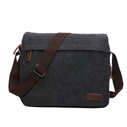 Super Modern Umhängetasche, Laptop-Tasche, Computer-Tasche, aus Segeltuch, für Männer und Frauen, Herren, Black Large