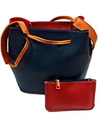 BitSh Women's Blue Maroon Handbag Clutch Set