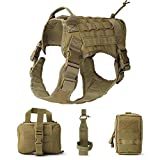 QEES Service Hundeweste, taktisches Hundegeschirr, 1000D Heavy Duty Molle Weste Harness, Patrol Vest Packs GGBX03