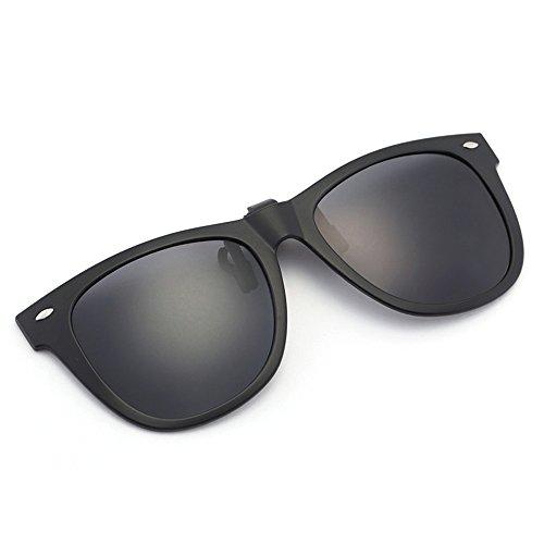 Polarisation Clip-On Sonnenbrille Unisex-elegante und komfortable Clips Flip Myopic Sonnenbrille für Outdoor/Driving/Fishing (black)