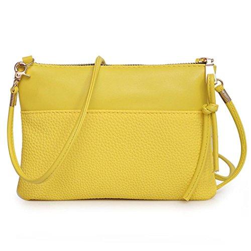 Damen Schultertasche, VJGOAL Damen Mädchen Mode Handtasche Schultertasche Kleine Mini Tasche Große Tote Geldbörse Frau Geschenk Gelb