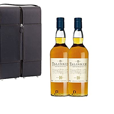 2 x Talisker 10 Year Old Single Malt Whisky 70cl Bottles in Faux Leather Gift Box with Hand Crafted Gifts2Drink Tag