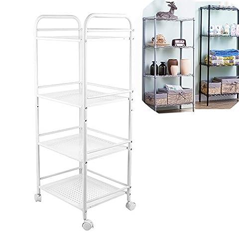 Metal Shelves, Trolley Cart Salon Rolling Wheels Steel Storage Rack Wax Beauty Salon Shelves Kitchen (40cm 4 layers,