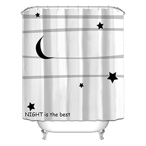Duschvorhang Cartoon Multifunktionsdruck Badezimmer Polyester Vorhang (mond Muster 180 cm * 200 cm)