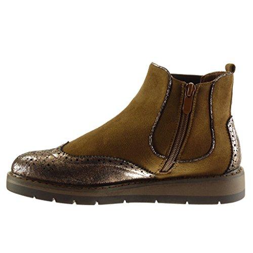 Angkorly Chaussure Mode Bottine Chelsea Boots BI-Matière Plateforme Femme Brillant Finition Surpiqûres Coutures Perforée Talon Compensé 3 CM Camel