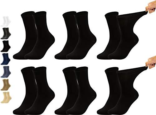 Vitasox 11124 Chaussettes femme extra-larges en coton, chaussettes médicales sensibles sans élastique sans couture 6 paires noires 39/42