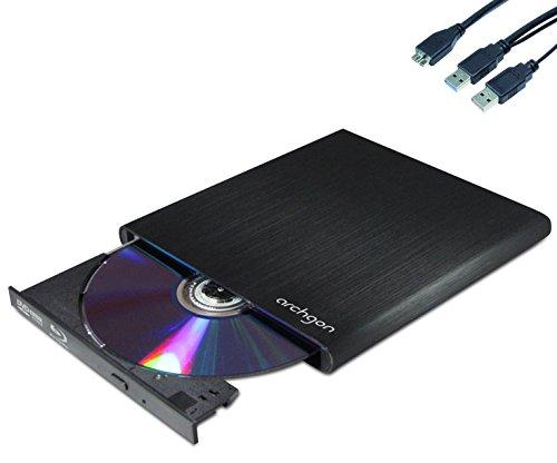 Archgon® MD-8107S-U3-BDCombo(K) Style schwarz externer Blu Ray Player DVD CD Brenner Player Lesegerät (Panasonic UJ-172) mit USB 3.0 - gebürsteten Vollmetall Aluminum Flachrohr Gehäuse - kompatibel mit PC und Mac Macbook Pro, Air, iMac