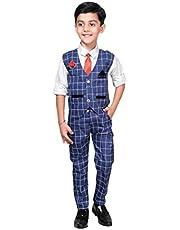 ahhaaaa Boy's Blended Waistcoat, Shirt, Tie Trouser Set