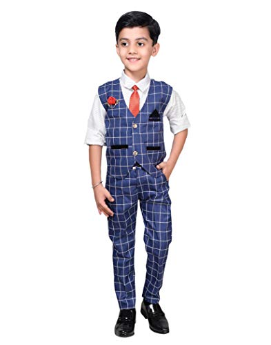 AHHAAAA Kids Waistcoat, Shirt, Tie and Trouser Set for Boys_571 (8-9 Years, Blue)