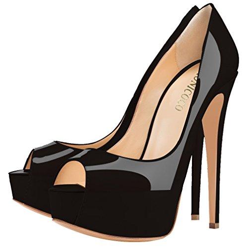 MONICOCO Übergröße Damenschuhe Mehrfarbig Peep-Toe High Heels Pumps mit Plateau Schwarz Lackleder