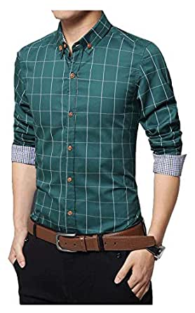IndoPrimo Men's Cotton Casual Fancy Shirt for Men Full Sleeves (Rama, Small - 38)