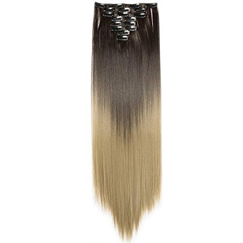 TESS Clip in Extensions wie Echthaar Kunsthaar Haarteil günstig 8 Tressen 18 Clips Haarverlängerung Glatt Braun/Honigblond 26