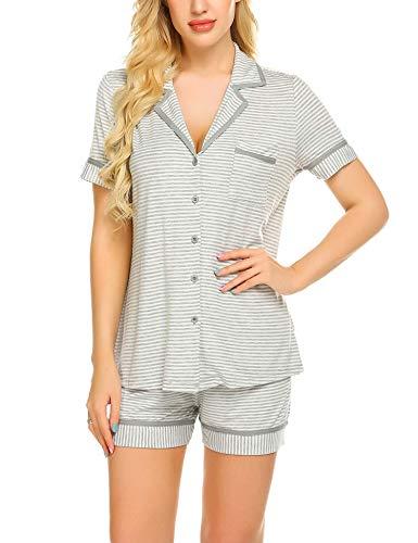MAXMODA Damen Schlafanzug Kurzarm Baumwolle Shorty Hose 2tlg Gestreift Pyjama Set Tops Nachtwäsche Shirt Shorts Sommer (Damen-pyjama)