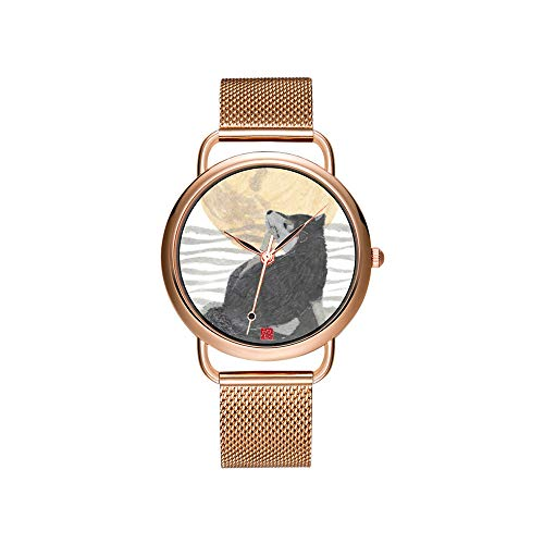 Frauen Uhren Marke Damen Mesh Gürtel ultradünne Uhr wasserdichte Uhr Quarzuhr Weihnachten schwarz Shiba Inu Art, grau Polka Dot Watch -