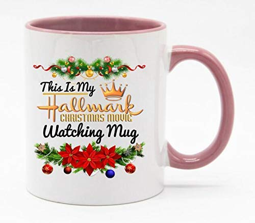 TK.DILIGARM 11 Ounce This is My Hallmark Christmas Movie Watching Coffee Mug or Tea Cup White+Pink