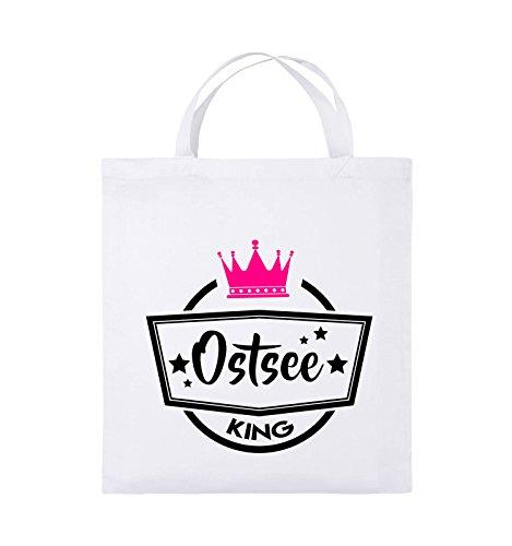 Comedy Bags - Ostsee King - KRONE - Jutebeutel - kurze Henkel - 38x42cm - Farbe: Royalblau / Weiss-Gelb Weiss / Schwarz-Pink