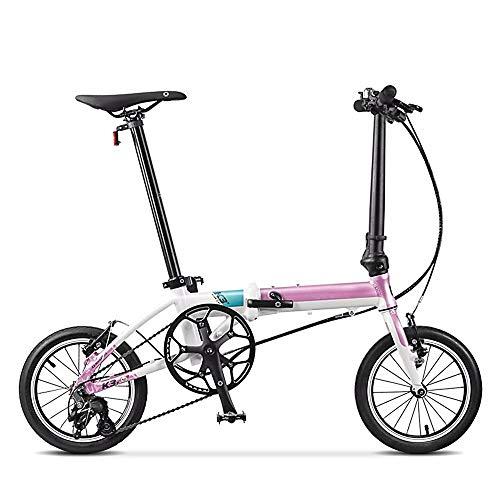 WuZhong W Coche Plegable Pareja Mini Ultraligero Rueda pequeña Bicicleta Plegable Hombres y Mujeres Adultos Bicicleta 14 Pulgadas