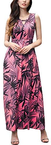 SMITHROAD Damen Sommer geblümtes Trägerkleid gebatiktes Maxikleid Freizeit Strandkleid in 9 Stile Gr. 34 bis 44 Z610-Rot