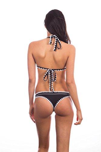 WanYang Damen Bikini Sets Multicolor Sexy V Neck Badeanzüge Bandage Hot Bikini Bademode Schwarz