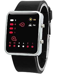 Reloj - SODIAL(R)Unisex De mujer Reloj Hombre Silicona Digital Rojo LED Deportivo