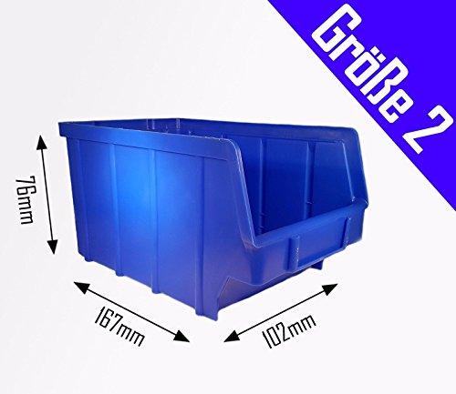 1 Stück Stapelboxen blau Gr.2 ( 102 x 167 x 76 mm ) Kunststoff PP Sichtlagerkästen