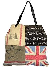 Priti Vintage Design Handbag Tote Bag Travel Bag In Washed Canvas Leather