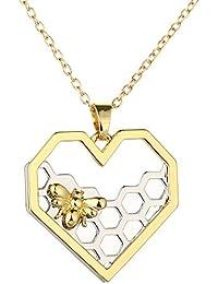 SANWOOD® Mode Bienenwabe Bienen Anhänger Halskette Party Abschlussball Geschenk Schmuck für Frauen
