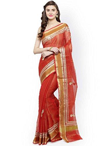 Geroo Jaipur Red Tissue Solid Kota Saree Tissue Silk Saree
