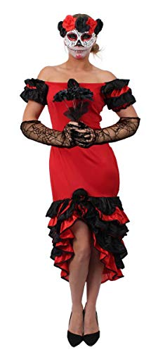 Sugar Skull Kostüm Paar - WOMEN'S DAY OF THE DEAD SUGAR SKULL TASCHENSPIEGEL SEÑORITA-KOSTÜM HALLOWEEN KOSTÜM ROT-- - RUMBA KLEID SCHWARZ SUGAR SKULL MASK VEIL, SPINNENNETZ-HANDSCHUHE VON ILOVEFANCYDRESS ® IN GRÖSSEN S-XL ((6-18)