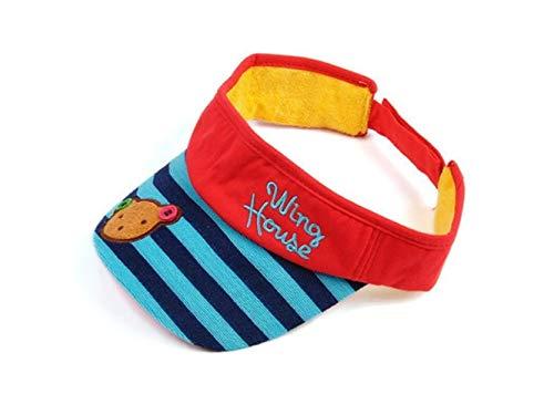 Kleinkind Mütze Kinder Stripe Empty Top Hut Kinder Outdoor Sonnenblende Atmungs Schweiß Sonnenhut für 1-5 Jahre Alt Baby Kopfbedeckung (Farbe : Red, Größe : 42-56cm) - Visor Stripe Cap