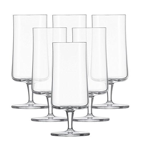 Schott Zwiesel 115273 Basic 6-teiliges Pilsglas / Bierglas Set, Kristall, farblos, 7.6 x 7.6 x 17.8 cm