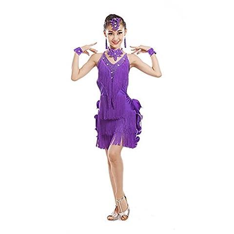 Saloon Fille Costume Violet - Jupe frangée jeu télévisé filles danse latine