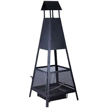 Kamino-Flam Feuerstelle Despina - Terrassenofen für Garten & Balkon - Kamin in Schwarz aus Stahlblech - Gartenkamin pyramidenförmig - Terrassenkamin mit Ascheschublade - Gartenofen 49 x 49 x 131 cm