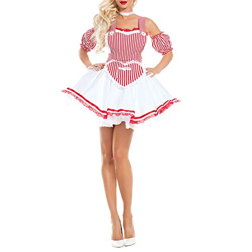 RONSHIN Dirndl Weibliche sexy Schlinge Streifen Kleid Kurze Hemden mit Knowbot Dekoration Cosplay Kostüm