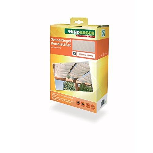 Freundliche Sonnenschutz (Windhager 10868 Sonnensegel-Seilspanntechnik-Set 270 x 140 cm, cremeweiß)