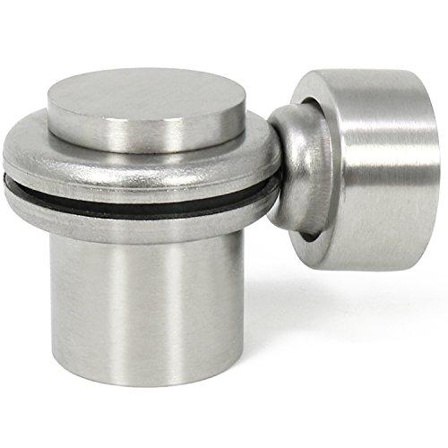 Preisvergleich Produktbild com-four® Türfeststeller aus mattiertem Edelstahl,  Bodentürstopper mit Magnet,  4, 2 x Ø 4 cm (Edelstahl Mattiert - 01 Stück)