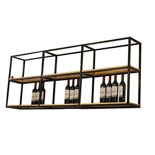 MinMin Weinregal Schmiedeeisen Weinregal aus Holz An der Wand montiertes Becherregal Kreativer Weinständer Kann for Restaurantbar verwendet Werden Weinregal, Zwei Größen sind optional Weinlagerung
