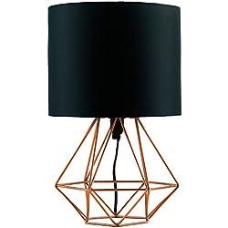 MiniSun Lampe à Poser, Lampe de Table 'Angus' Aspect Rétro. Pied - Panier Géométrique en Effet Cuivre Brossé & Abat-Jour Tambour en Tissu Noir